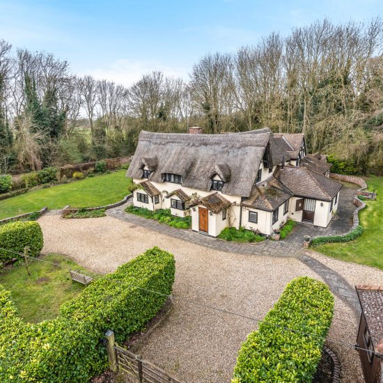 elevated shot of thatched cottage