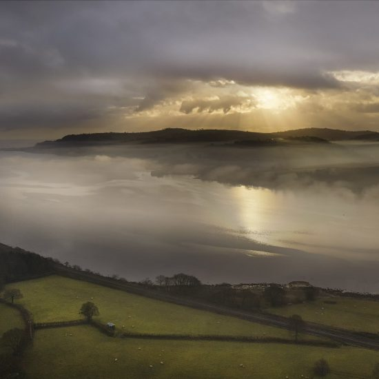 Misty drone sunrise photography