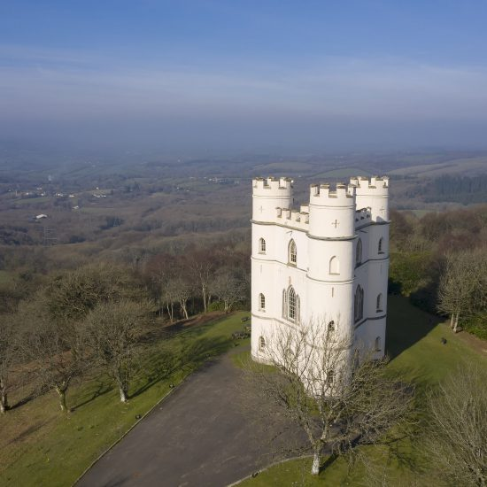 Drone image of a castle