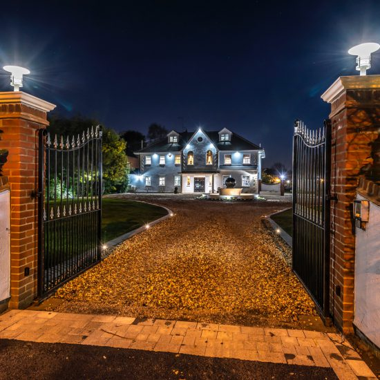 night shot of home entrance