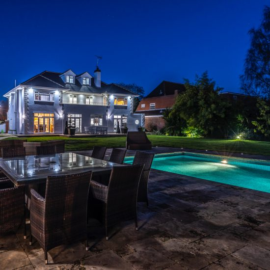 night photo of pool